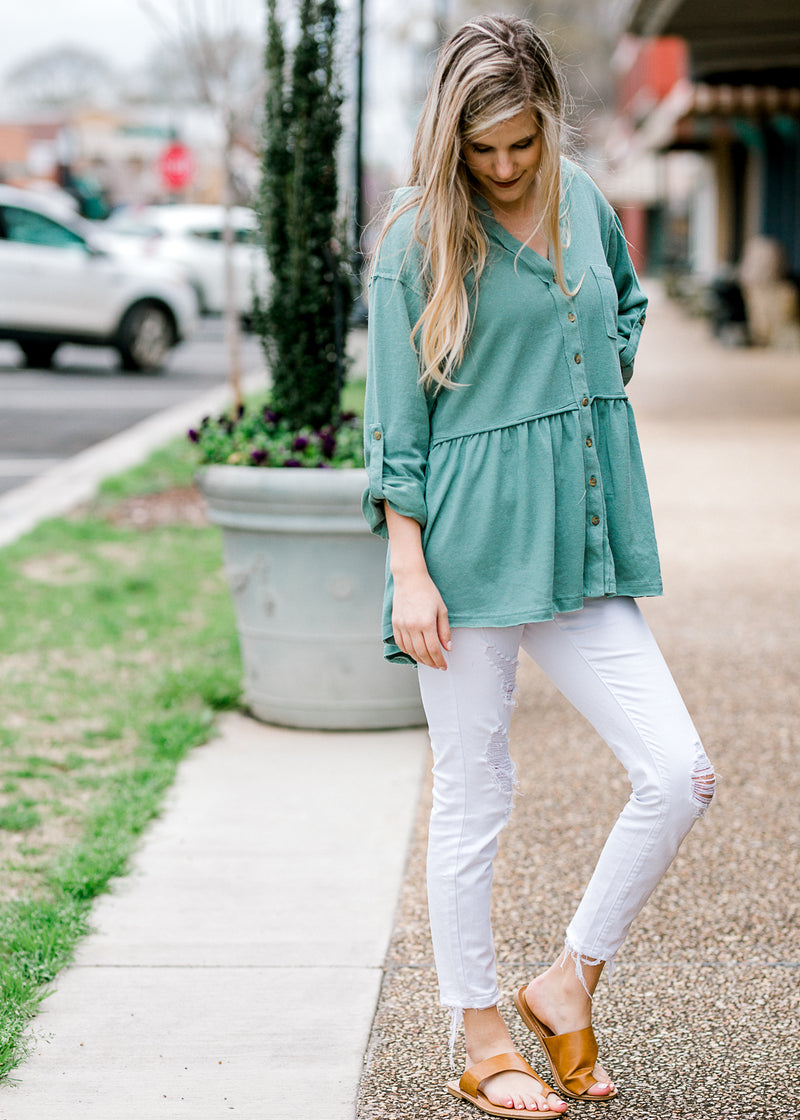 dusty teal top with buttons - epiphany boutiques
