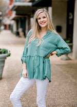 dusty teal top - epiphany boutiques