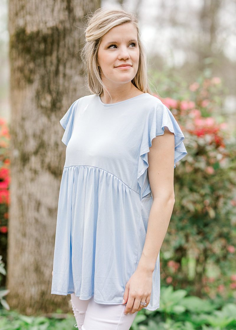 gathered waist line blue top - epiphany boutiques