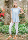 fluttered sleeve blue top - epiphany boutiques