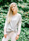 Ribbed Gray/Pink Color Block Top
