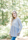 long sleeve striped gray top -  epiphany boutiques