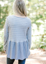 gray and white top back view -  epiphany boutiques
