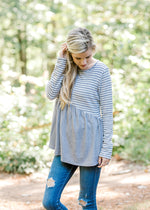 ribbed gray and white striped top -  epiphany boutiques
