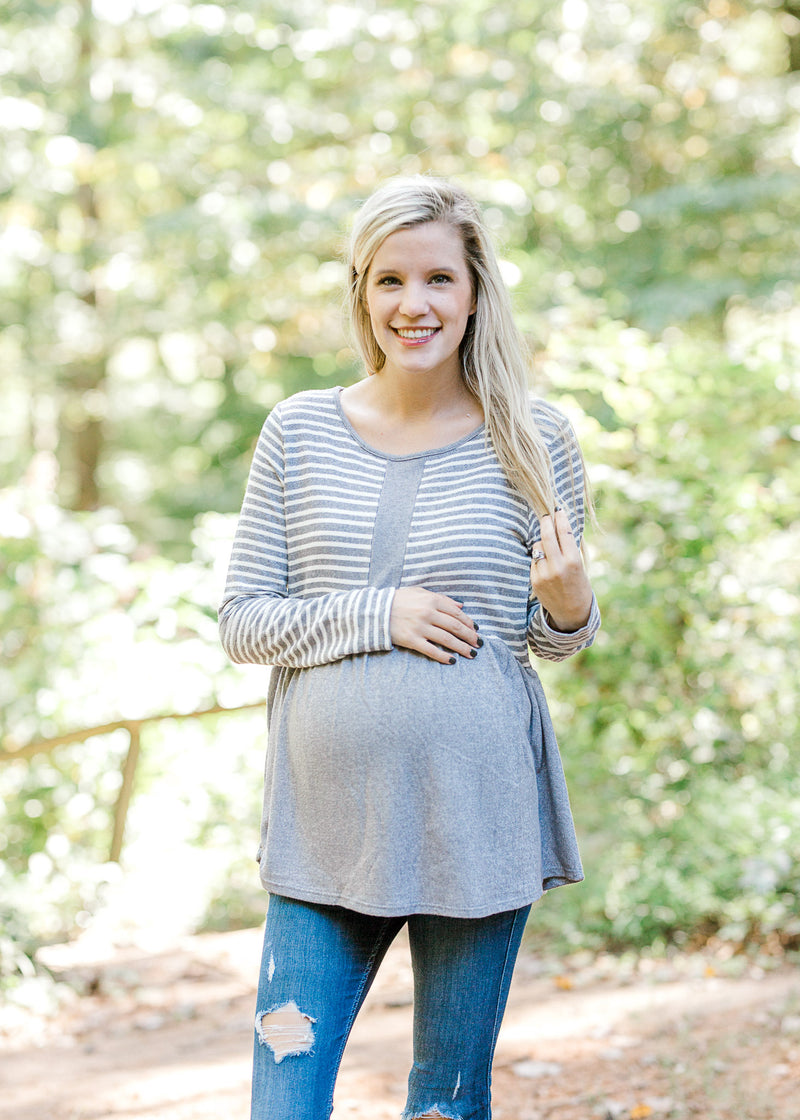 Right Choice Gray Stripe Top for the Bump