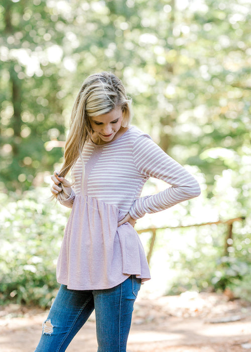 mauve and white striped top -  epiphany boutiques