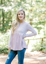 ribbed mauve and white stripe top -  epiphany boutiques