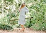 sage midi dress with functioning buttons - epiphany boutiques