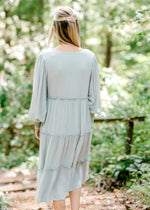back view of sage midi dress - epiphany boutiques