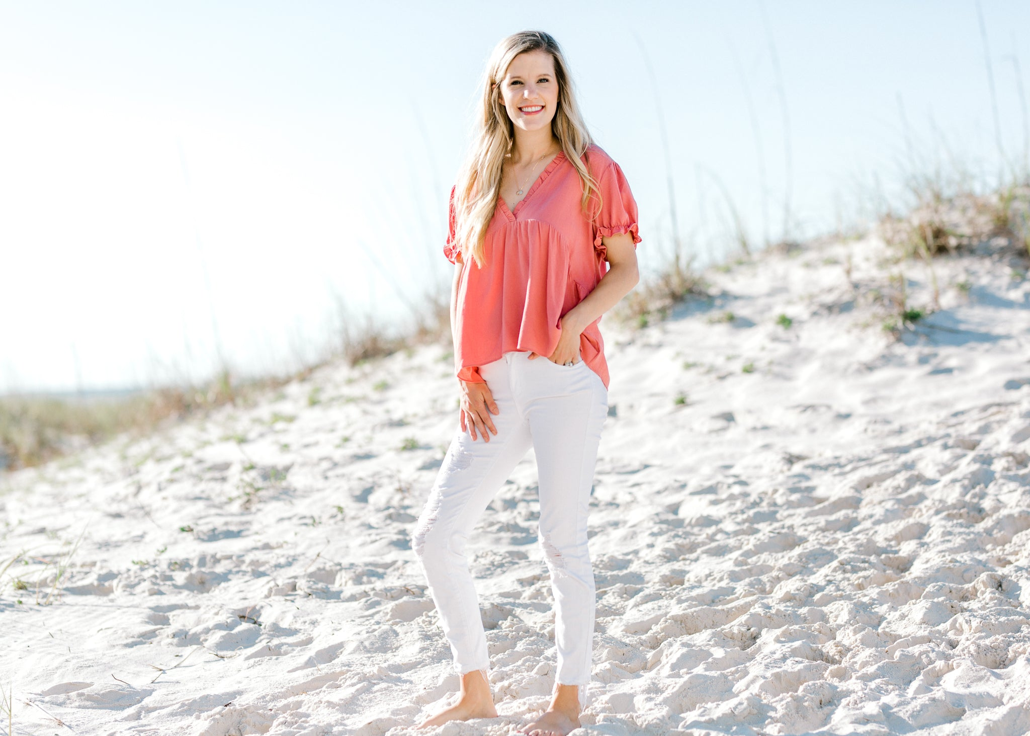 ruffle detail top with v neck -  epiphany boutiques