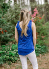 royal blue tank v cut - epiphany boutiques