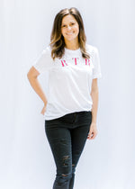white tee with red rtr tee - epiphany boutiques