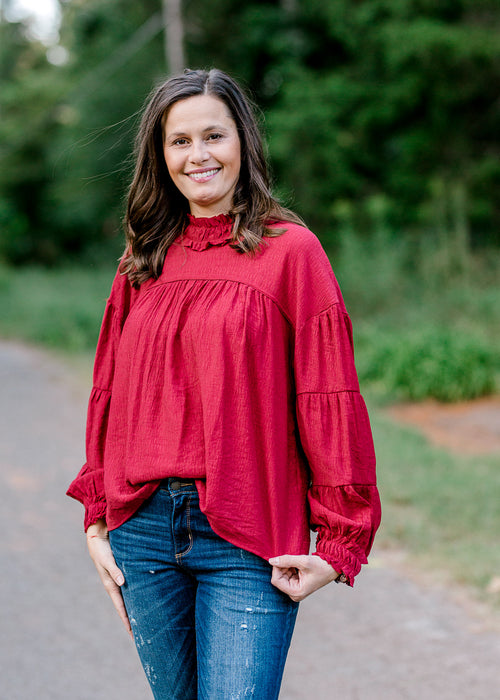 ruby red long sleeve top - epiphany boutiques