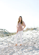 leopard print top with mauve background -  epiphany boutiques