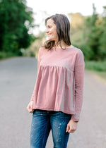 rust and cream top - epiphany boutiques
