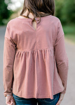 rust and cream top with key hole - epiphany boutiques