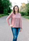 rust and cream long sleeve top - epiphany boutiques