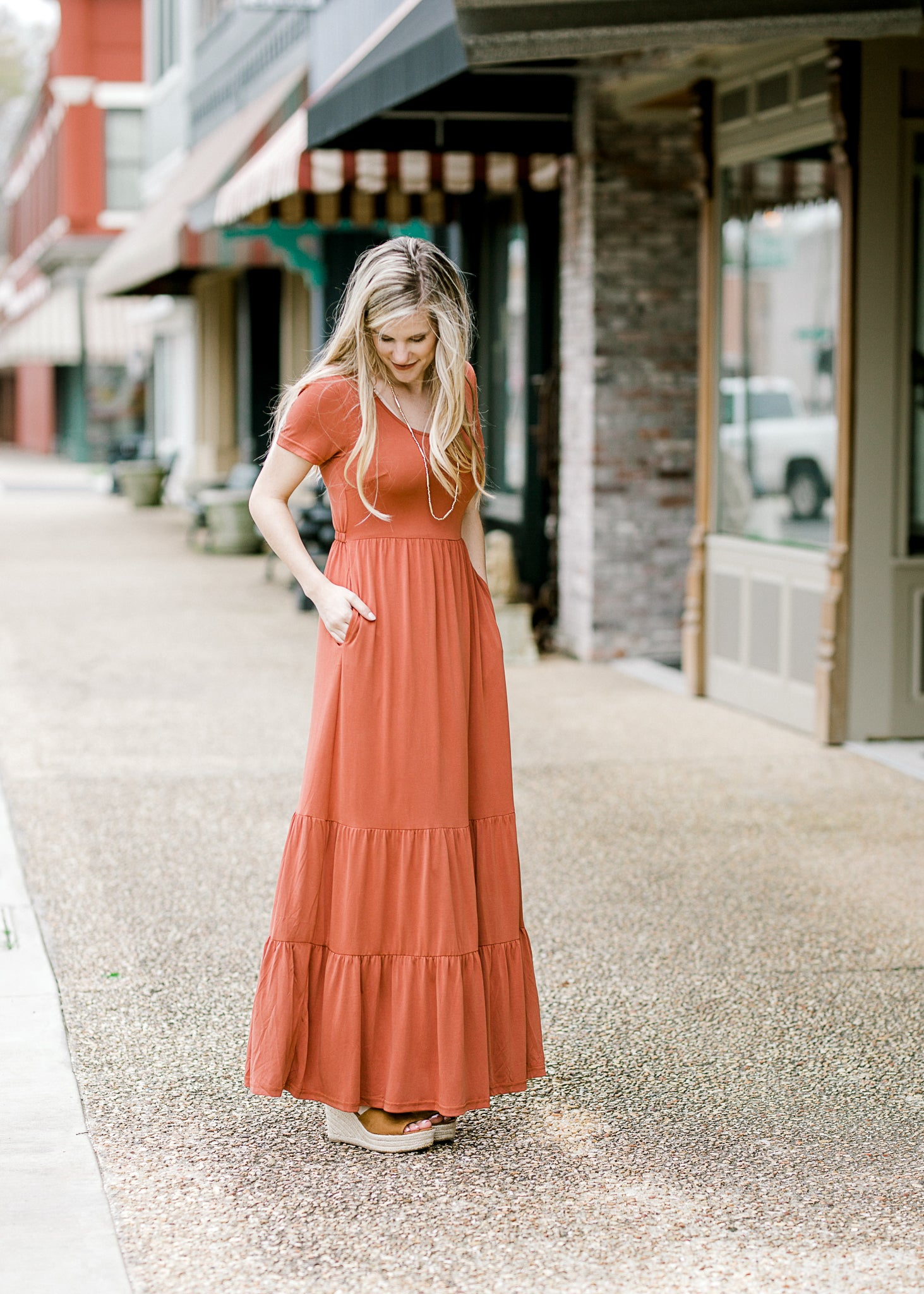 tiered level maxi in rust - epiphany boutiques