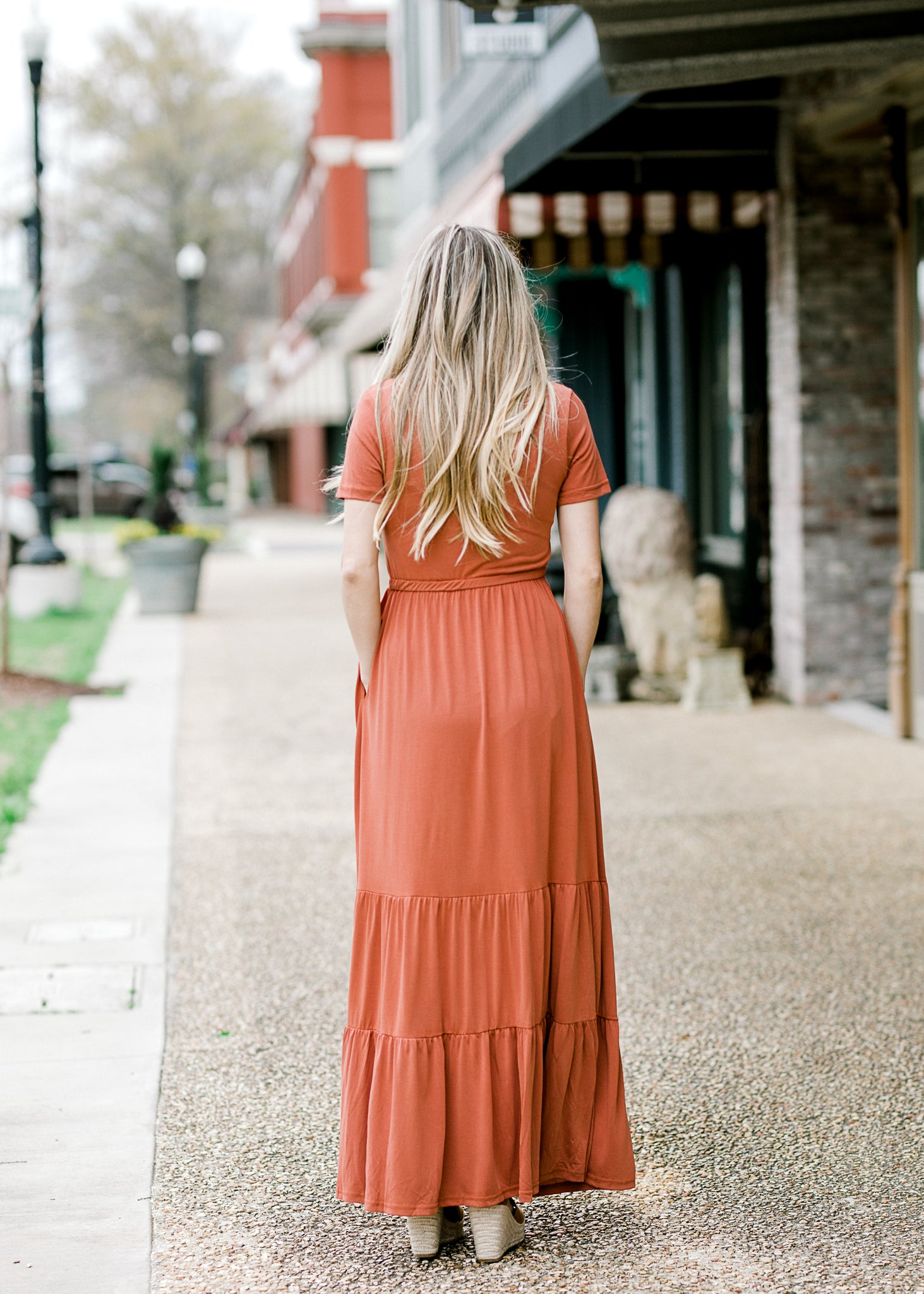tiered maxi dress in rust - epiphany boutiques