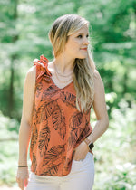 rust sleeveless top - epiphany boutiques