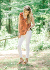rust top with palm leaves - epiphany boutiques