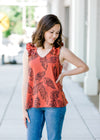 v neck top with palm leaf print - epiphany boutiques