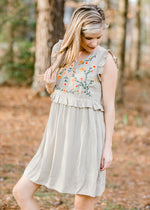 sage dress with embroidery - epiphany boutiques