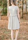 dusty sage dress with ruffles - epiphany boutiques