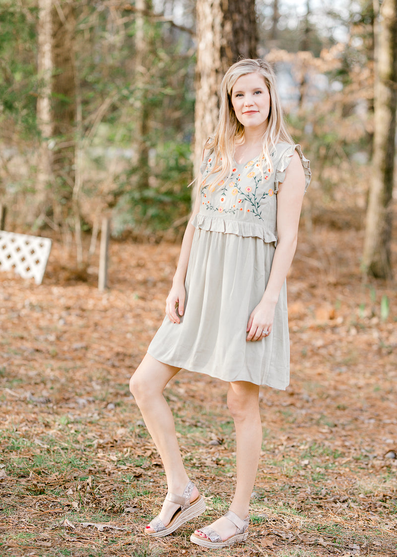 sage dress with embroidery detail - epiphany boutiques