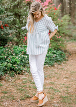 woven sage striped pocket top - epiphany boutiques