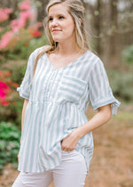 functional button sage top - epiphany boutiques
