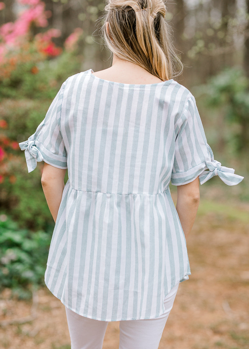 striped sage top back view - epiphany boutiques
