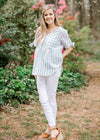 sage striped pocket top - epiphany boutiques