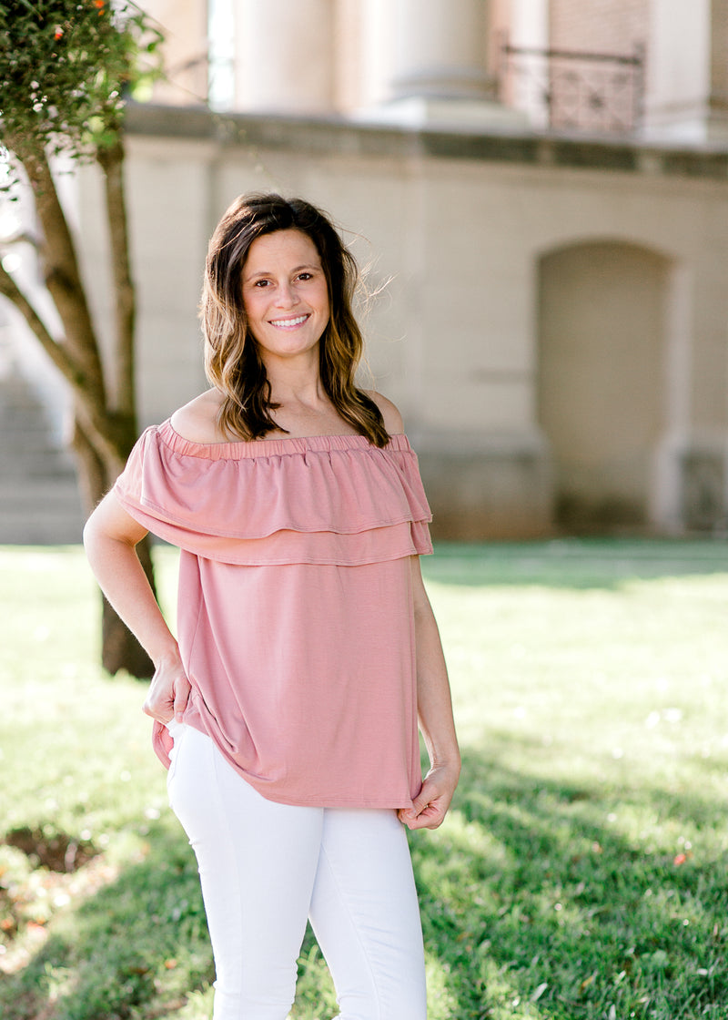 salmon off the shoulder top - epiphany boutiques