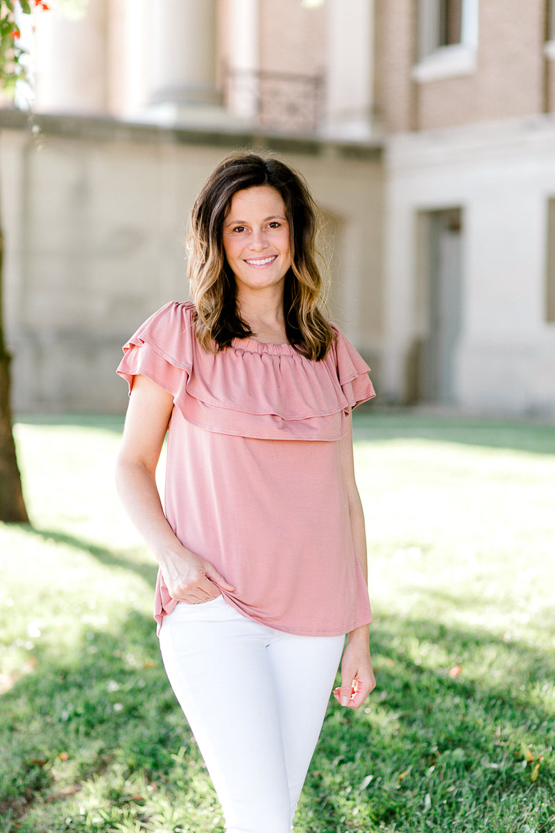 salmon tiered top - epiphany boutiques