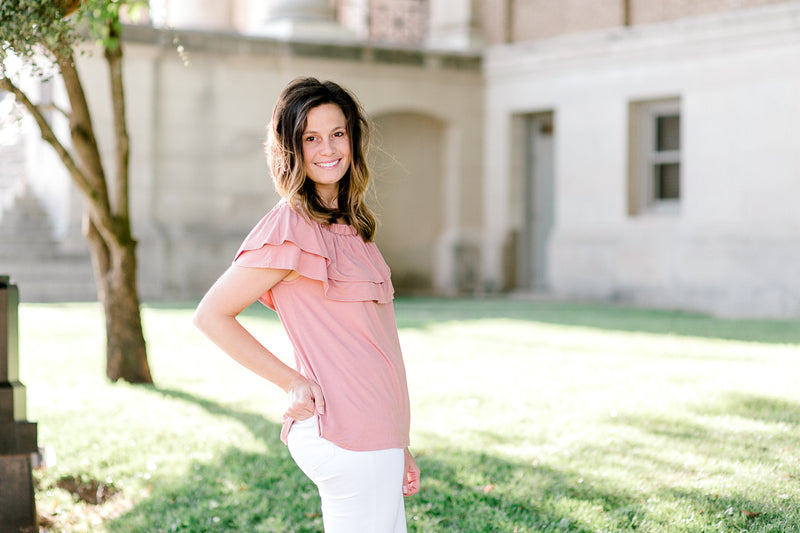 salmon top off the shoulder - epiphany boutiques