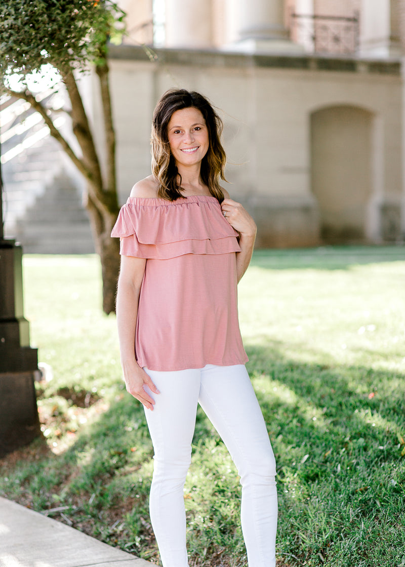 model in salmon off the shoulder - epiphany boutiques