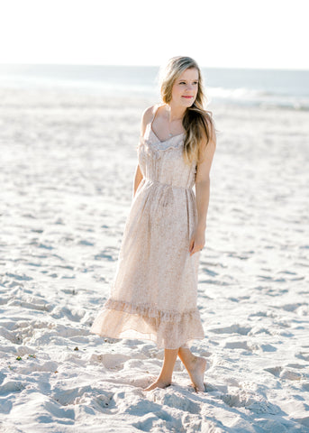 sand and white midi dress -  epiphany boutiques