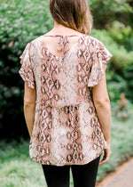 snake print top with back tie - epiphany boutiques