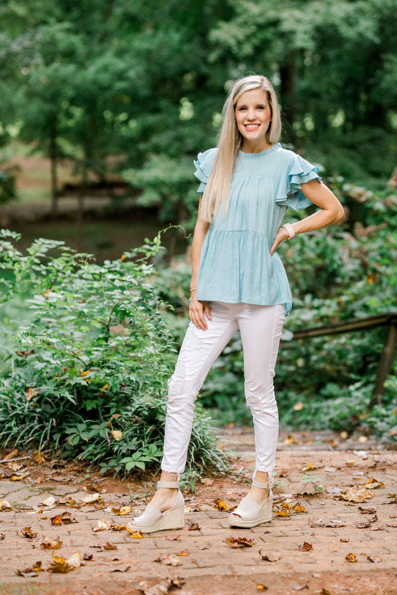 Save the Date Blue Ruffle Top