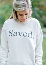 cream sweatshirt with saved -  epiphany boutiques
