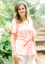 Scalloped Pink Dress Top