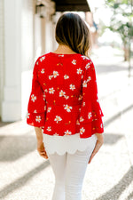 long sleeve red kimono - epiphany boutiques