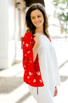 model in red kimono with floral print - epiphany boutiques