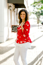 red kimono with ruffle sleeves - epiphany boutiques