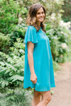aqua dress with flutter sleeves - epiphany boutiques