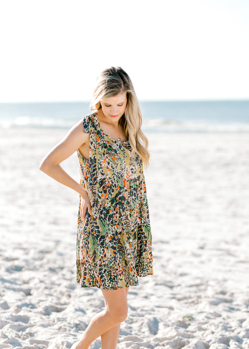 green patterned dress -  epiphany boutiques