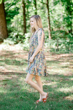 tiered green printed dress -  epiphany boutiques