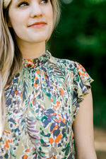 green printed top with high collar -  epiphany boutiques