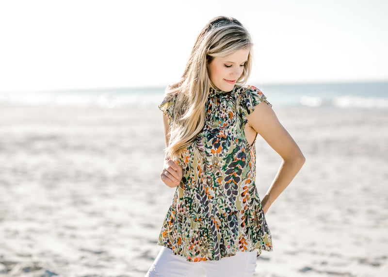 ruffle waist line tier top -  epiphany boutiques